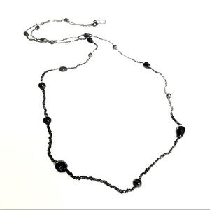 Black beads layering necklace